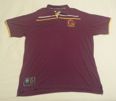 Brisbane Broncos NRL rugby league maroon media polo shirt by Classic - Large