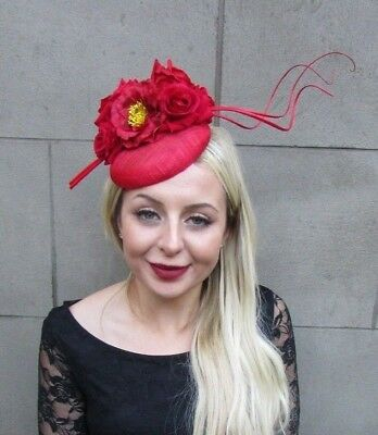 Red Sinamay Rose Feather Flower Fascinator Hat Hair Clip Races Wedding Vtg 6640
