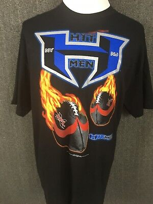 XFL New York New Jersey Hitmen Flaming Footballs Men s Graphic T-shirt XL 972371683