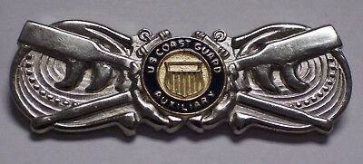 Original Coast Guard Auxiliary Coxwain Badge Silver Regulation Size