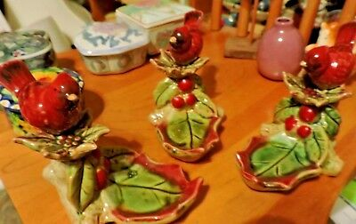 One Lovely Cardinal Baby with Holly Leaf  Ceramic Spoon Rest? Figurine