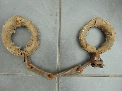 Antique Wrought Iron Padded Colonial Prisoner Convict Hand / Leg Shackles