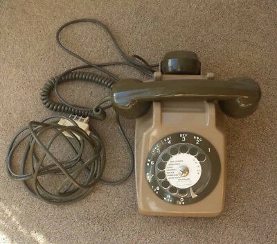 Vintage rotary dial telephone brown mother in law attachment French post office