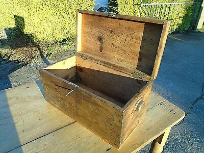 Vintage Solid Pine Chest Lock Key Cup Handles Toy Storage Trunk Hobby Craft Box