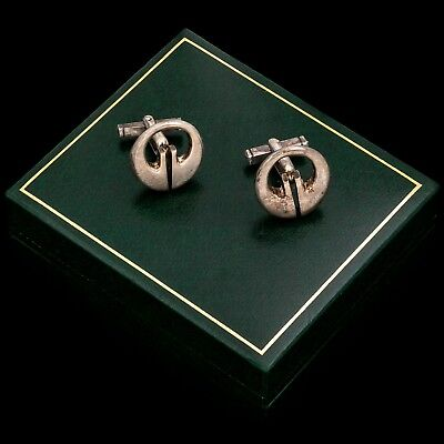 Antique Vintage Art Deco Mid Century Sterling 925 Silver Oval Mens Cufflinks