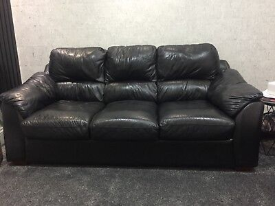 Used Black Leather Sofa Set Excellent Condition