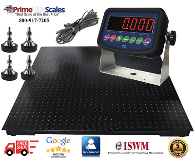 """5 Year Warranty 2,000 lb 40"""" x 40"""" Floor Scale Weighing Pallets Indicator"""