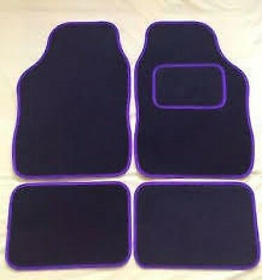 Universal 4 Piece Front And Rear Car Van Floor Mats Rubber Backed Carpet Purple