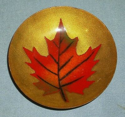 Vintage A. Gagnon Quebec Enamel Over Copper Small Tray Pin Dish Maple Leaf