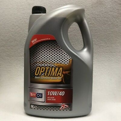 BRIT OIL 10w40 Semi Synthetic Engine Oil 5 Litres 1040S ACEA A3/B3 API SL CF
