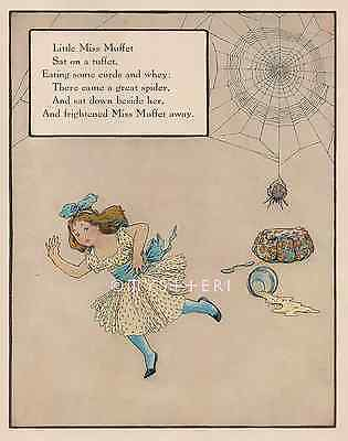 Little Miss Muffet-Runs From Spider-Mother Goose-1912 OLD ANTIQUE VINTAGE PRINT