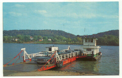 Fly Ohio and Sisterville WV Car River Ferry Postcard - West Virginia