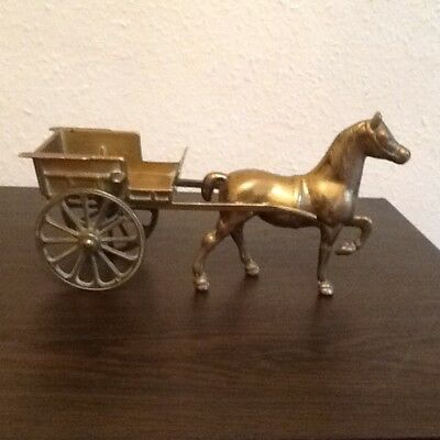 Vintage Heavy brass horse and carriage excellent condition