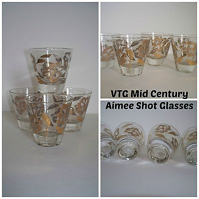 "VTG Mid Century Set of 4 artist aigned "" AIMEE "" Gold & White Mod Shot Glasses"