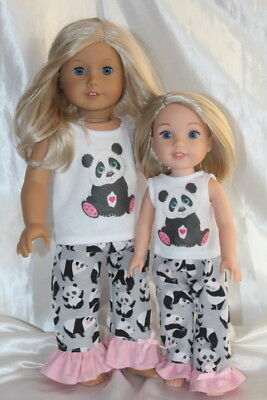 Dress Pajamas fits 14inch Wellie Wishers 18inch American Girl Doll Clothes Lot