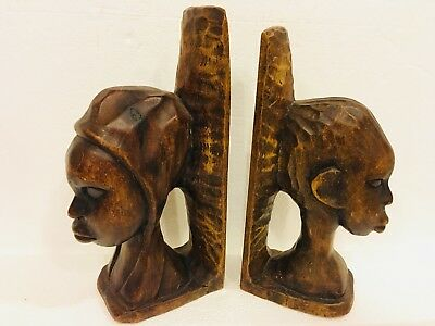 Hand Carved Wood African Tribal Native Man Woman Bust Bookends S. Pierre Carving