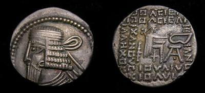 KINGS of PARTHIA Vologases I Second reign circa AD 58-77 AR Drachm Good VF 6513