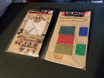 Vintage Hassenfeld Bros.  Modeling Clay and Mickey Mouse Club Paint by Numbers