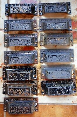 13 Antique Vintage Cast Iron Victorian Bin Pulls Late 1800s