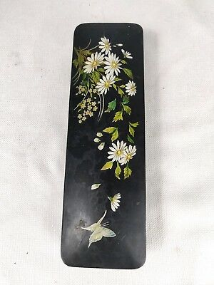 Antique Wooden Daisies and Butterfly Black Lacquer Hand Painted Vanity Glove Box