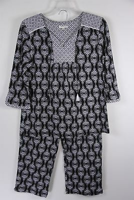 Anne Klein Pajama Set 3/4 Sleeve Black Print M Medium 10 12 Womens NWOT