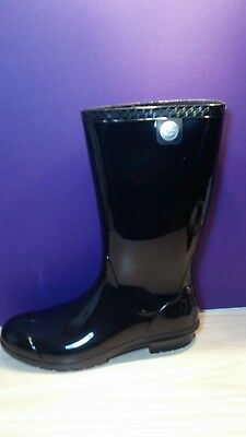 524445dcb97 NEW WOMENS UGG Tall Black Gloss Shaye Water Proof Boots Rain Boots ...