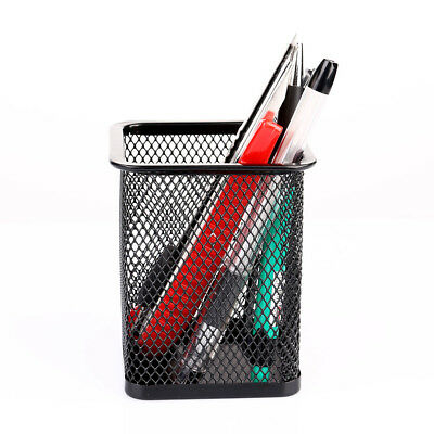 Cosmetic Metal Pen Pencil Holder Stationery Container Organizer Office Black