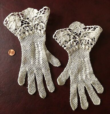 Novelty wearable Victorian crochet and needle lace white gloves BRIDE COSTUME