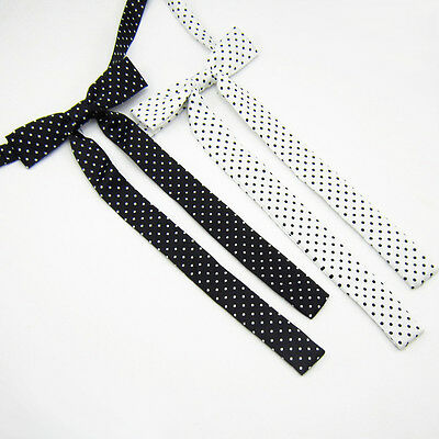 Women Long Wedding Banquet Polka Dots Adjustable Bow Tie Necktie (Black/White)
