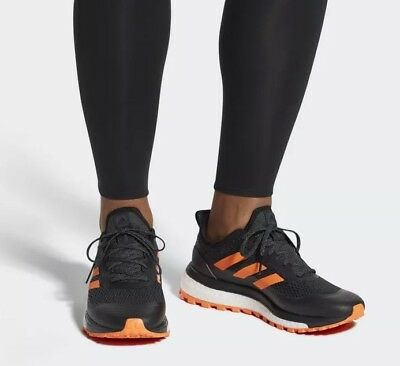 🔥$140 Mens ADIDAS RESPONSE TRAIL BOOST 12 black all-terrain terrex shoes orange