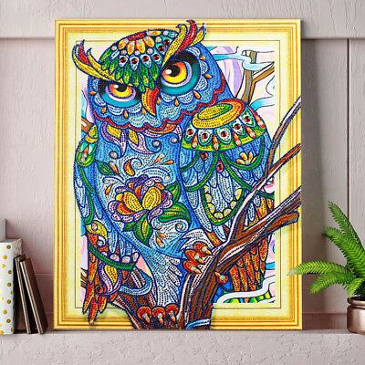 """""""NEW"""" WHOOT THE OWL , 5D DIY DIAMOND Like PAINTING BY NUMBER KIT 40x50cm Huge!"""