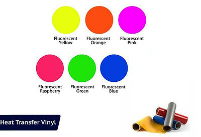 "Heat Transfer Vinyl, FLUORESCENT-6 Piece Starter Bundle 15""X 12"" Rolls Cricut"