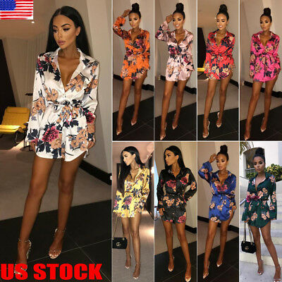 US Women Floral Long Sleeve Dress Ladies Winter Casual Holiday Midi Dresses Top
