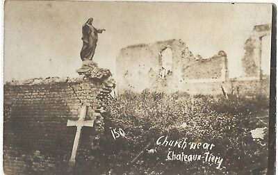 WWI real photo postcard bombed church near Chateau Tierry 1918