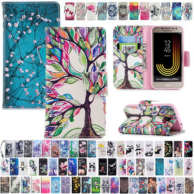 For Samsung Galaxy J2 Pro 2018 Flip Leather Magnetic Patterned Wallet Case Cover