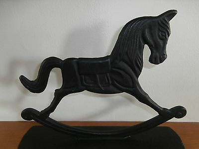 Vtg Cast Iron Rocking Horse Door Stop Book End 10.75 x 8.25  Lots of Detail