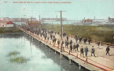 Employees of the U.S. Navy Yard, Mare Island, California 1910 Vintage Postcard