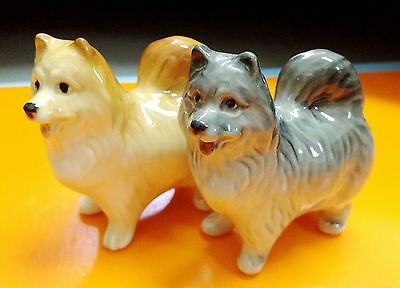 Samoyed two porcelain figurines dog hand made art souvenir from Russia