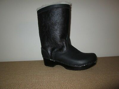 93dd25bcb72a New SVEN Black Leather Shearling Lined Wood Heel Clog Boots Size 38 EU  8 US
