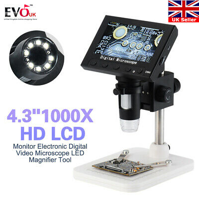 """4.3"""" 1000X HD LCD Monitor Electronic Digital Video Microscope LED Magnifier Tool"""
