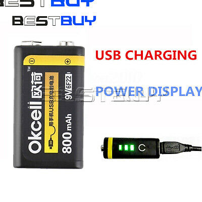 9V 800mAh USB Rechargeable Lipo Battery  RC Helicopter Model Microphone BBC