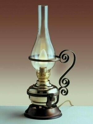 Electric Kerosene Lamp Antique Design Brass Glass Wood Table Desk Lamp Marzo