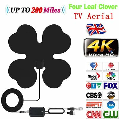 200Mile Portable TV Antenna Indoor Digital HD Freeview Aerial Signal Amplified
