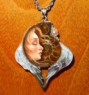 SHENSHIN Pendant Ammonite & Shell ANGEL Wings GIRL UNIQUE hand painted signed