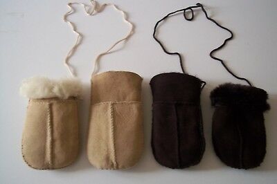 Babies Genuine Sheepskin Puddy Mittens On A Cord