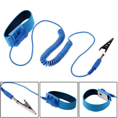 Anti Static Cordless Bracelet ESD Discharge Cable Wrist Strap Cool Blue DIUK