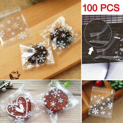 100pcs XMAS Snowflake Cellophane Cookie Sweet Candy Biscuit Gift Bags Party UK