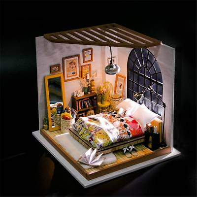 DIY Dollhouse Miniature 3D Doll House Box Handcraft With Furniture Bedroom Loft