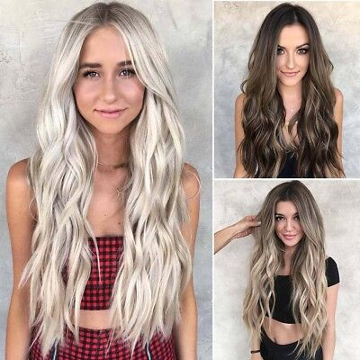Women Natural Fashion Full Hair Wigs Long Curly Wavy Ombre Wig Cosplay Party AU
