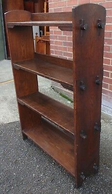 Edwardian antique Arts & Crafts solid pegged numbered open library bookcase